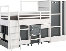 Container with shelves for multi bed