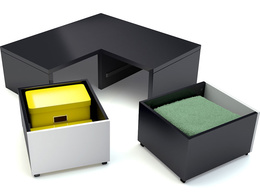Corner base with 2 drawers