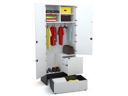 2-door wardrobe with base 106x53 and drawer
