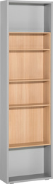 Side bookcase for 4-door wardrobe gray
